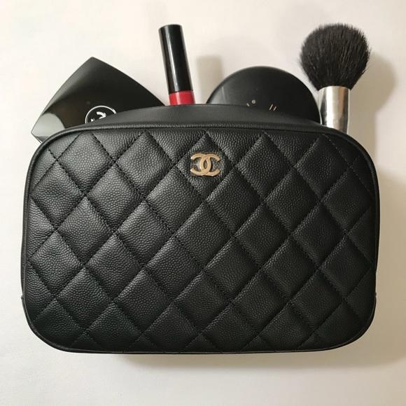 e0ecf1bb0e66 CHANEL Bags | Black Caviar Quilted Cosmetic Case Ocase | Poshmark